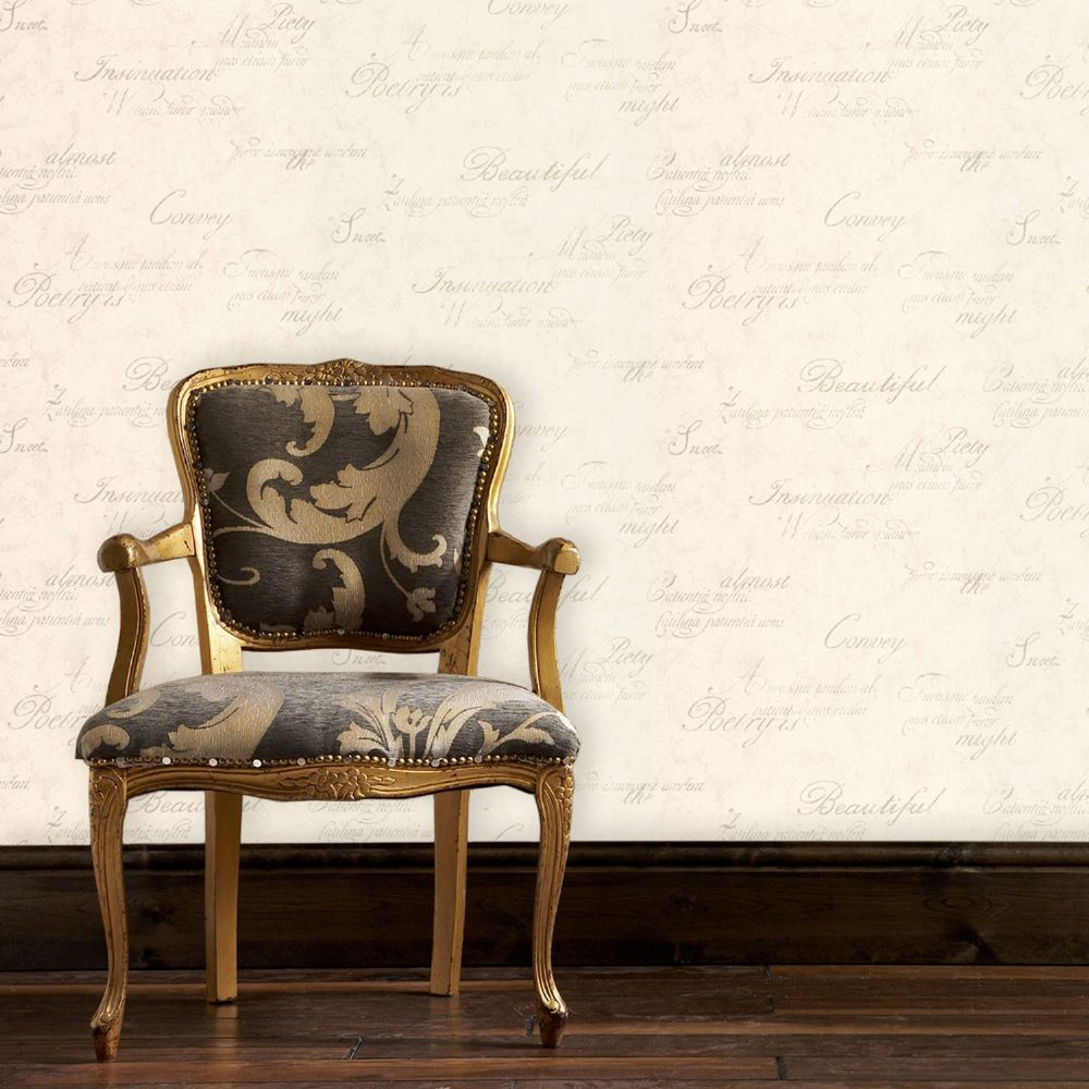 Graham and Brown Concrete Script Ivory 32-182 Wallpaper